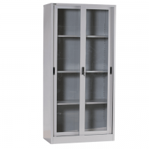 REXEL FULL HEIGHT CUPBOARD SLIDING GLASS WITH 3 ADJUSTABLE SHELVES, RXL101SG (GREY)