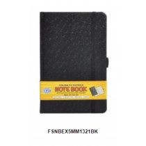 FIS Executive Notebook W/ Elastic Band Ostrich Italian Pu Cover5mm 13 x 21cm Black  FSNBEX5MM1321BK
