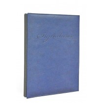 FIS Signature Book, Italian PU Material Cover without Window, 18 Sheets with Gift Box, Blue Color, 240 x 340 mm