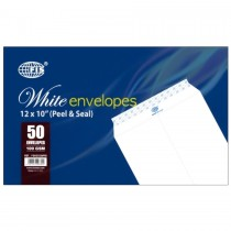 """FIS A4 WHITE ENVELOPE - PEEL & SEAL, 12 X10"""", (PACK OF 50)"""