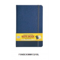 FIS Executive Notebook W/ Elastic Band Ostrich Italian Pu Cover5mm 13 x 21cm Blue  FSNBEX5MM1321BL