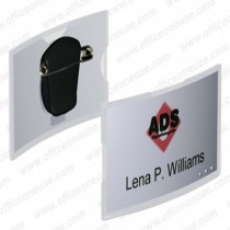 Durable 812419 CONVEX ACRYLIC Name Badge with combi clip 75 x 40 mm 25pack