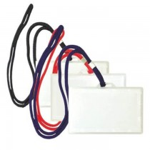 FIS Horizontal Name Badge Holders With Round Lanyard  1X50 Pkt
