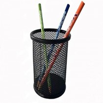 Deluxe Metal Mesh Pen Holder  Round  Black