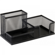 Deluxe AMT A108 Metal Mesh 3 in 1 Desk Organizer, Black