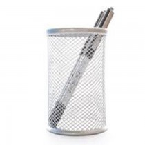 Deluxe Metal Mesh Pen Holder  Round  Silver