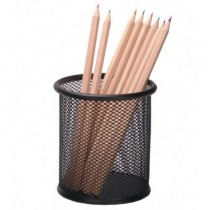 FIS FSPHB8802 Pen Holder - Metal Mesh  Round Net  Black