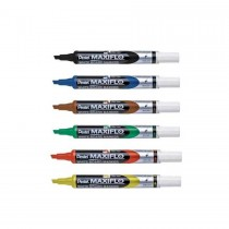 Pentel MWL6 Maxiflo Chisel Tip White Board Marker  Assorted (Pack of 6)