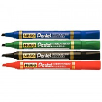 Pentel N860 Chisel Tip Permanent Marker  Assorted (Pack of 4)