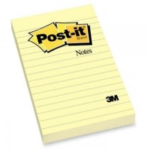 3M PostIt Notes Lined Canary Yellow 660 4inx6in