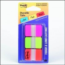 Postit Durable Index Tabs PinkGreenOrange 686PGO 22tabscol
