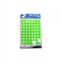 FIS Colour Round Labels, 18mm, Fluorescent Green, 700 labels/pack
