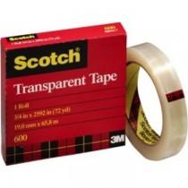 3M Scotch 600 Premium Transparent Film Tape, 3/4 inch x 36 yard