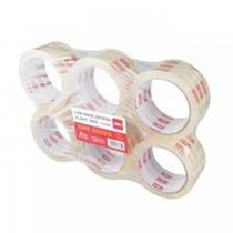 Deli E37661 Packing Tape  Low Noise Crystal Clear Pack of 6