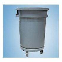 Chemex Circular Garbage Bin Plastic With Dolly Wheel  120 Liters