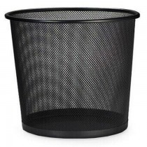 Deluxe Metal Mesh Waste Basket  Round  Medium  Black