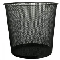 Deluxe Metal Mesh Waste Basket  Round  Large  Black