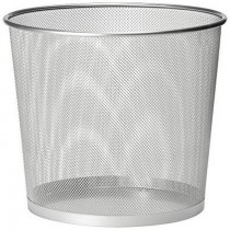 Deluxe Metal Mesh Waste Bin  Round  Medium Silver