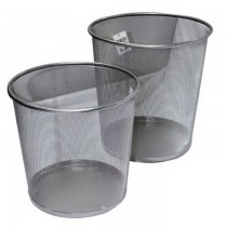 Partner Metal Mesh Waste Bin  Large  Silver
