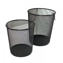 Partner Metal Mesh Waste Bin Round Large Black