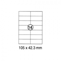 xel-lent 14 labels/sheet, straight corners, 105 x 42.3 mm, 100sheets/pack